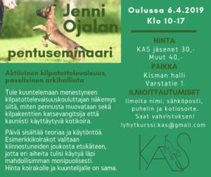 Jenni Ojalan pentuseminaari @ Koirakoulu Kisma